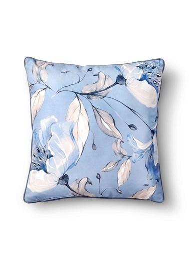 The Mia Flower Yastık - Açık Mavi 50 x 50cm Mavi